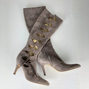 NWOB Guiseppe Zanotti Suede Cut Out Heeled Boots 8